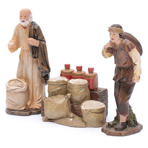 Nativity scene statues flour sellers with counter 20 cm 3 pieces set 2