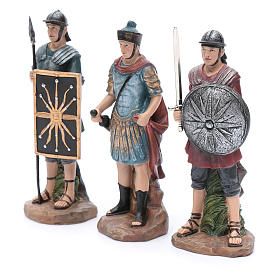 Nativity scene statues Roman soldiers in resin 20 cm 3 pieces set s2