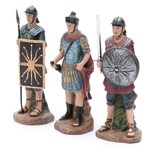 Nativity scene statues Roman soldiers in resin 20 cm 3 pieces set 2