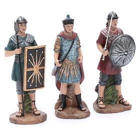 Soldados romanos de resina para belén 20 cm set 3 piezas s3