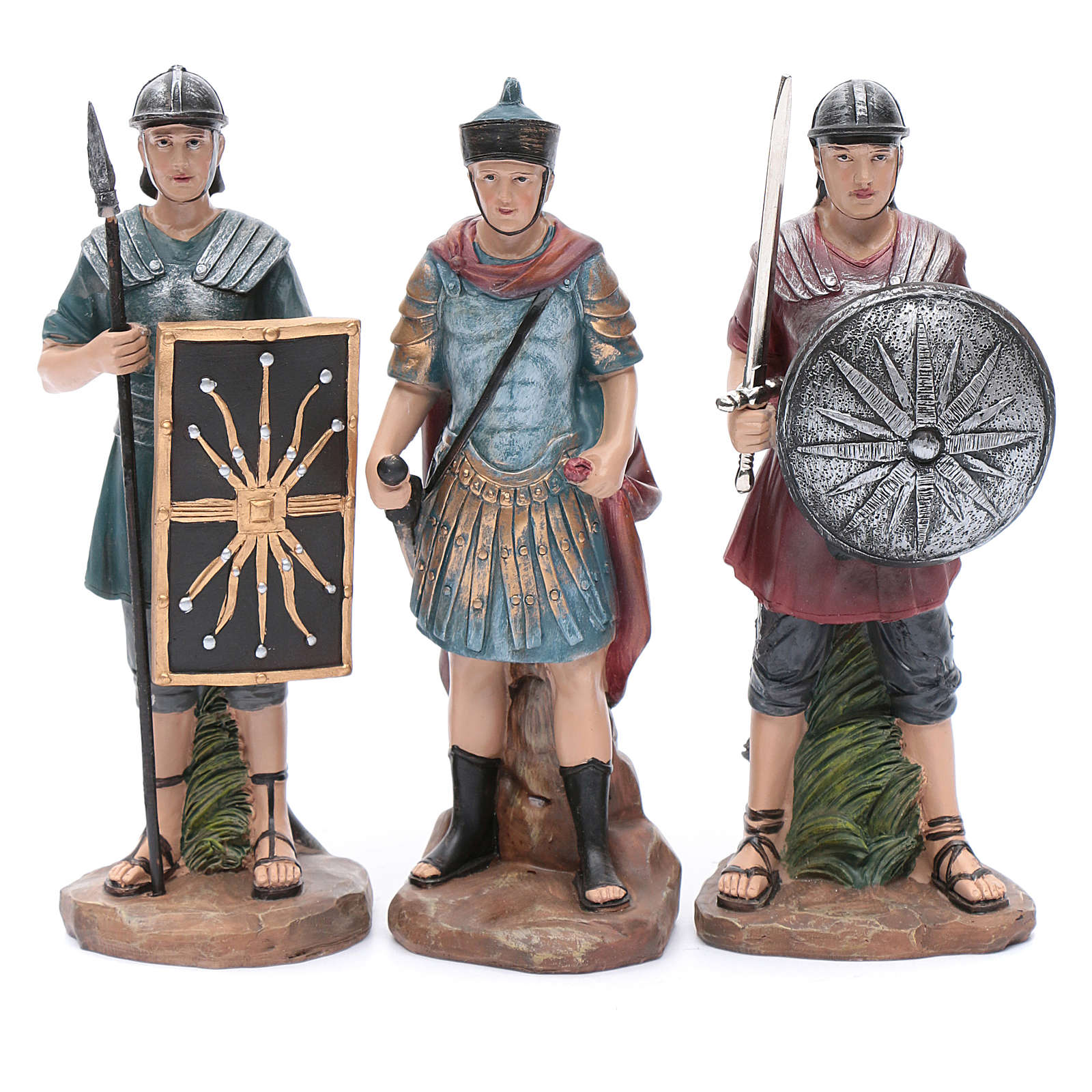 Nativity scene statues Roman soldiers in resin 20 cm 3 pieces set 3