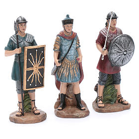 Nativity scene statues Roman soldiers in resin 20 cm 3 pieces set s3