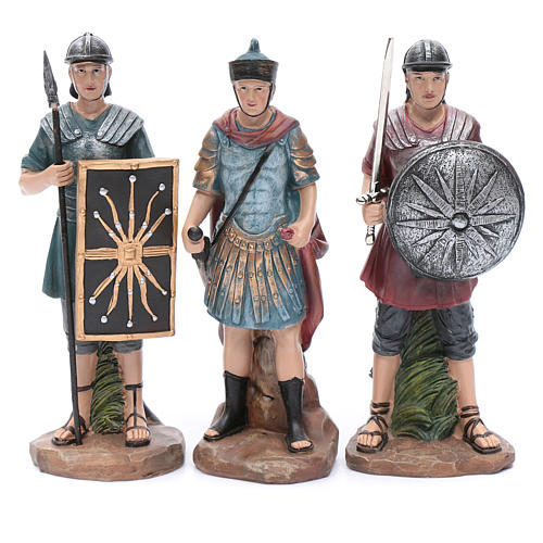 Nativity scene statues Roman soldiers in resin 20 cm 3 pieces set 1