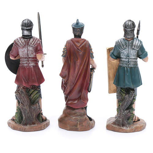 Nativity scene statues Roman soldiers in resin 20 cm 3 pieces set 4