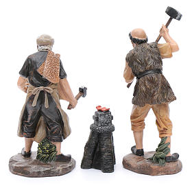 Nativity scene statues blacksmiths with forge 20 cm 3 pieces set s3