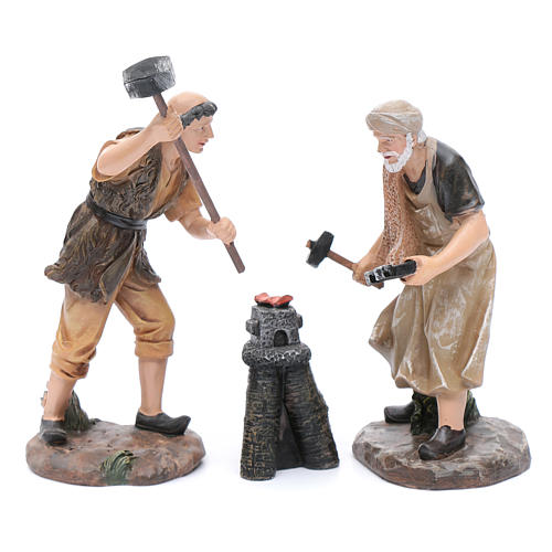 Nativity scene statues blacksmiths with forge 20 cm 3 pieces set 1