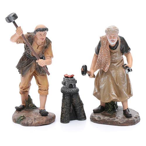 Nativity scene statues blacksmiths with forge 20 cm 3 pieces set 2