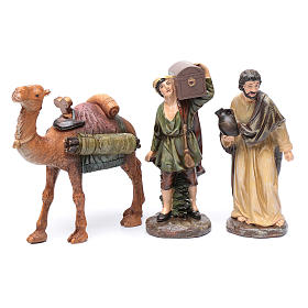 Nativity scene shepherds and camel in resin 20 cm 3 pieces set s1