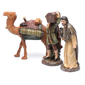 Nativity scene shepherds and camel in resin 20 cm 3 pieces set s2