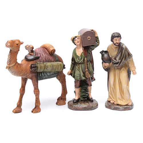 Nativity scene shepherds and camel in resin 20 cm 3 pieces set 1