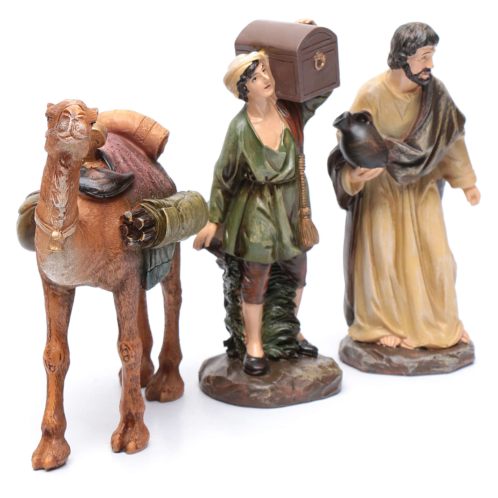 Nativity scene shepherds and camel in resin 20 cm 3 pieces set 3