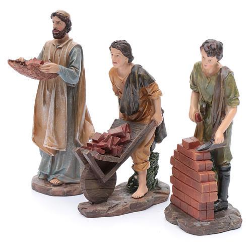 Nativity scene statues resin builders 20 cm 3 pieces set 2