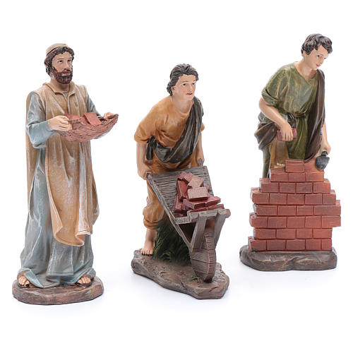 Nativity scene statues resin builders 20 cm 3 pieces set 3