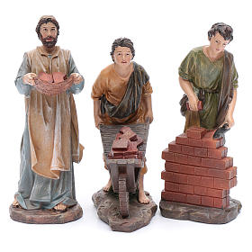Nativity scene statues resin builders 20 cm 3 pieces set s1