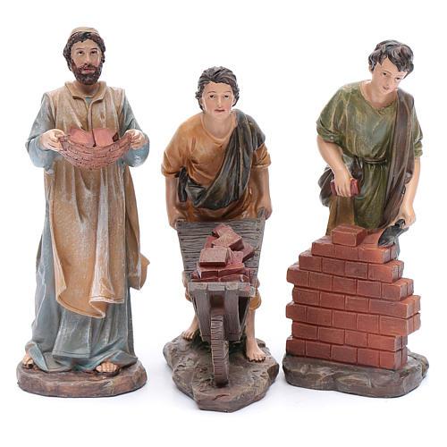 Nativity scene statues resin builders 20 cm 3 pieces set 1