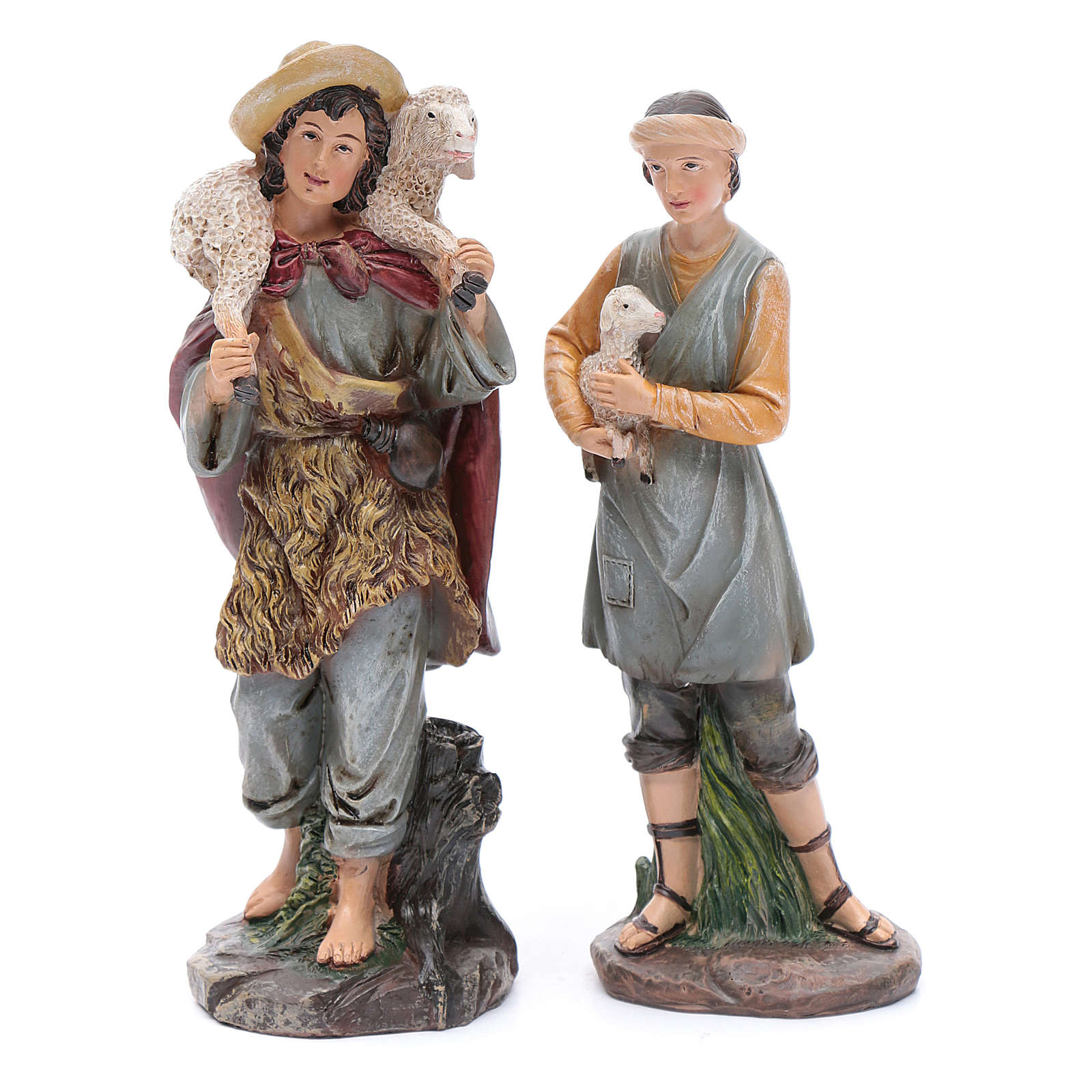 Nativity scene statues shepherds with sheep for 20 cm nativity scene in resin 10 cm 7 pieces 3