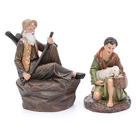 Nativity scene statues shepherds with sheep for 20 cm nativity scene in resin 10 cm 7 pieces s2