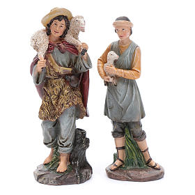 Nativity scene statues shepherds with sheep for 20 cm nativity scene in resin 10 cm 7 pieces s3