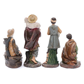 Nativity scene statues shepherds with sheep for 20 cm nativity scene in resin 10 cm 7 pieces s5