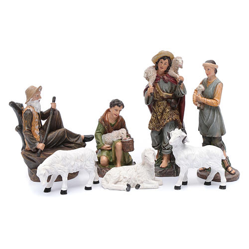 Nativity scene statues shepherds with sheep for 20 cm nativity scene in resin 10 cm 7 pieces 1