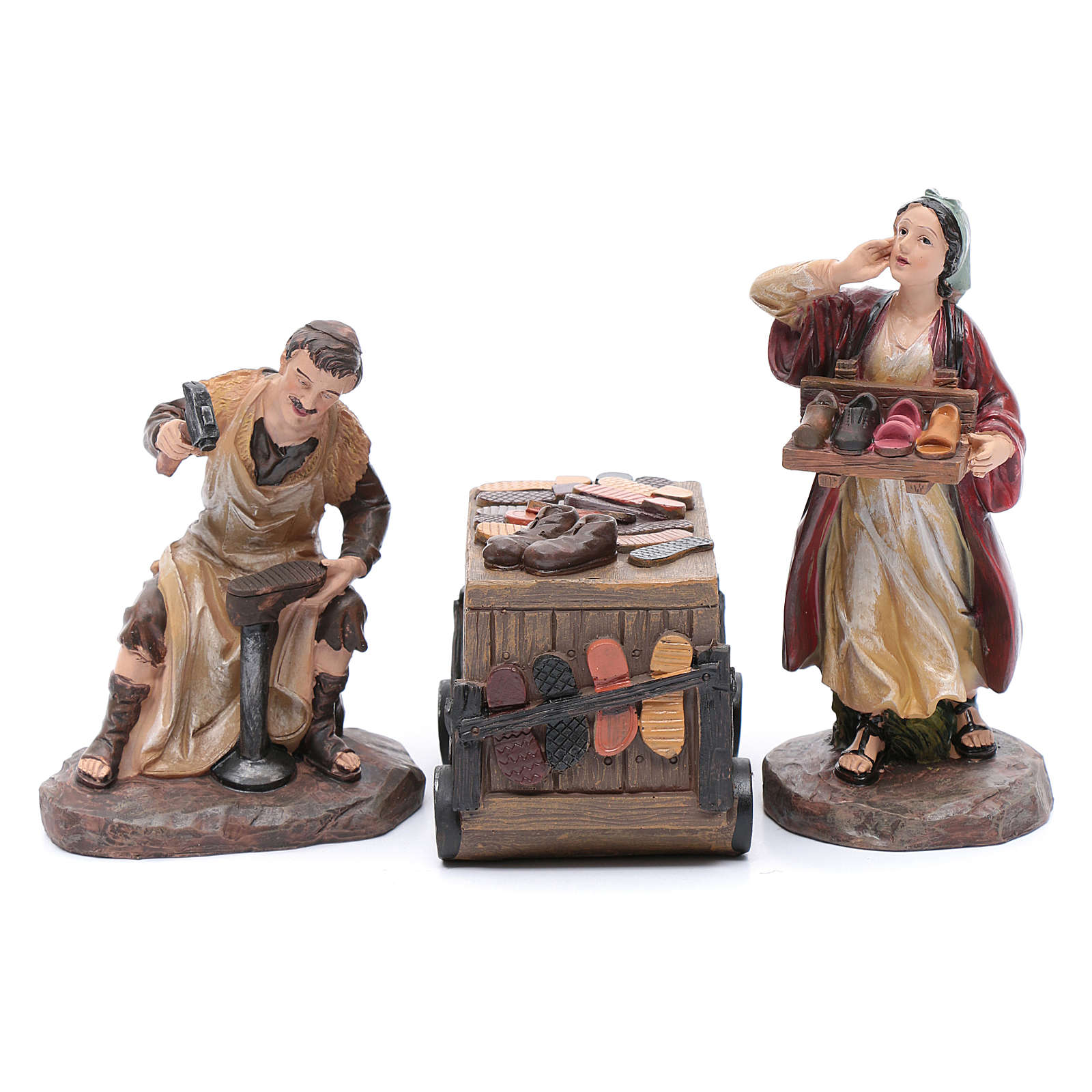 Nativity scene characters shoemakers with counter resin 20 cm set of 3 pieces 3
