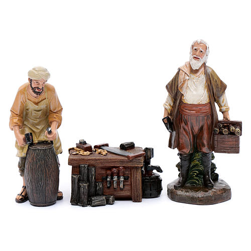 Nativity scene characters carpenters with counter resin 20 cm set of 3 pieces 1