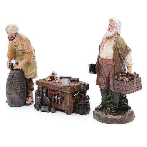 Nativity scene characters carpenters with counter resin 20 cm set of 3 pieces 2