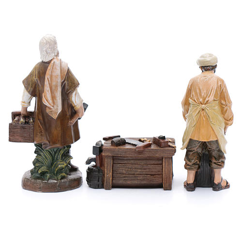 Nativity scene characters carpenters with counter resin 20 cm set of 3 pieces 4