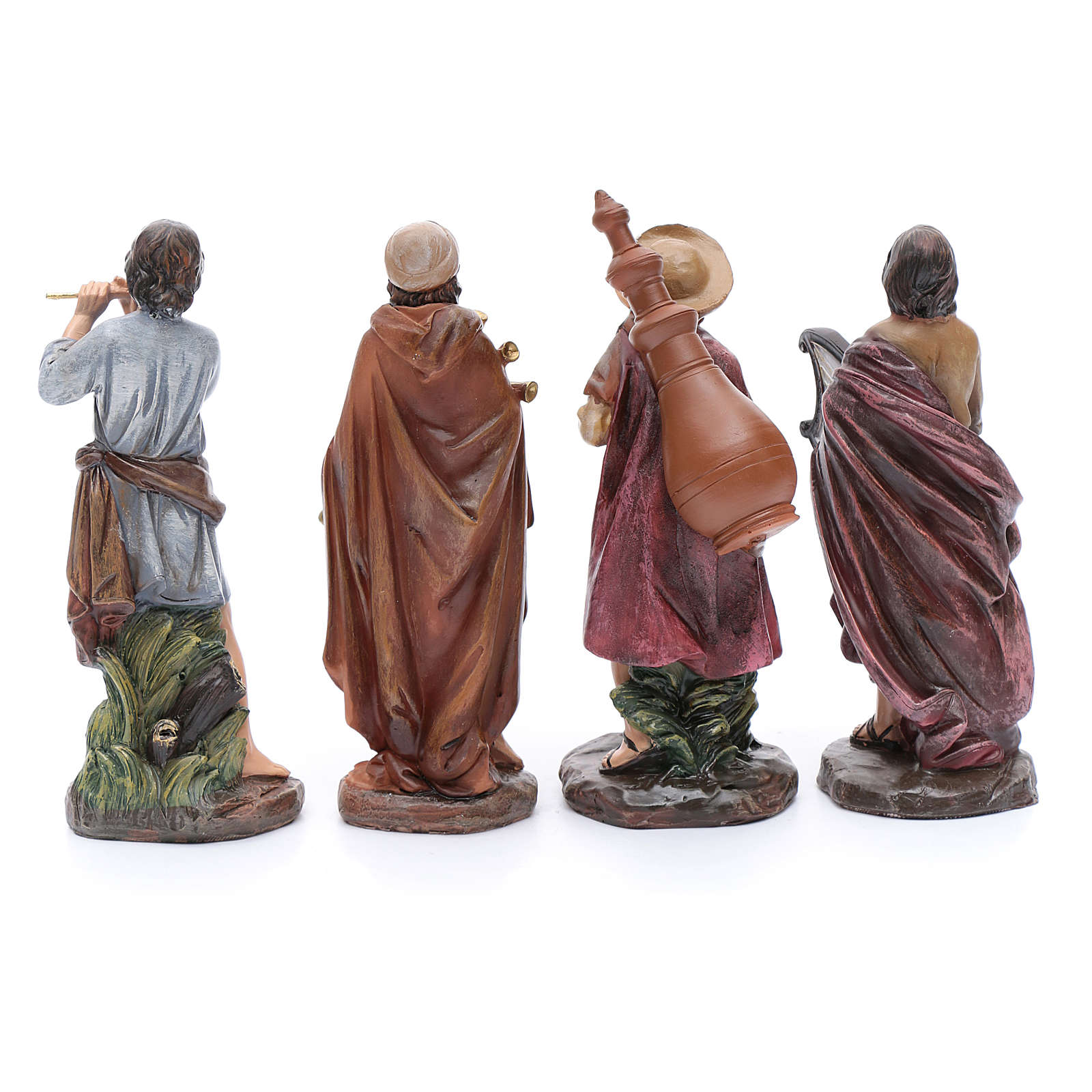 Nativity scene statues bagpipe players 4 pieces set suitable for 10 cm nativity scene 3