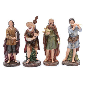 Nativity scene statues bagpipe players 4 pieces set suitable for 10 cm nativity scene s1