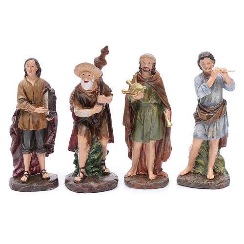Nativity scene statues bagpipe players 4 pieces set suitable for 10 cm nativity scene 1