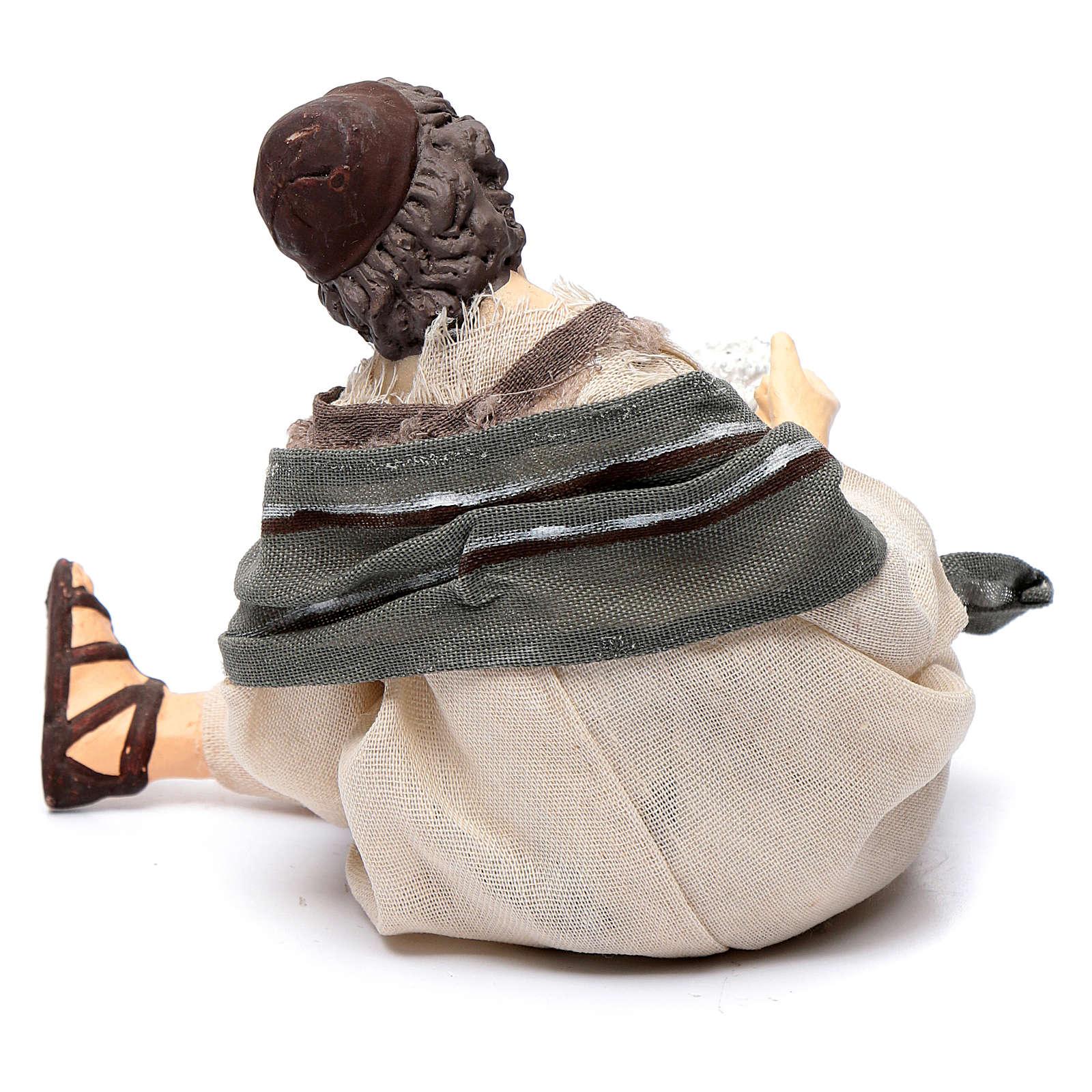 Pastor para belén sentado con oveja 15 cm resina 3