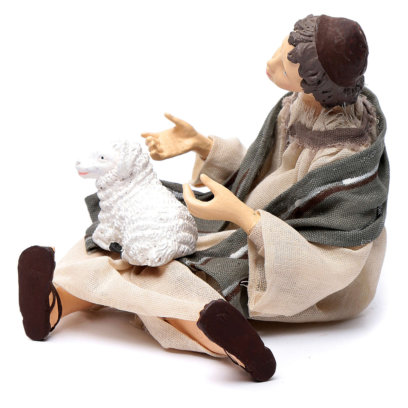 Nativity scene shepherd sitting with sheep 15 cm resin 3