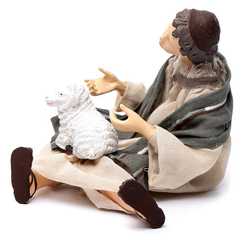 Nativity scene shepherd sitting with sheep 15 cm resin 2