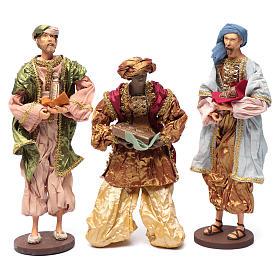 Reyes Magos con dones 35 cm resina y acabados oro s1