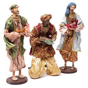 Reyes Magos con dones 35 cm resina y acabados oro s3