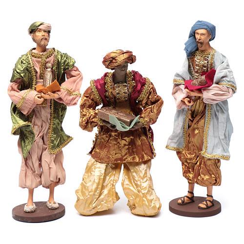 Reyes Magos con dones 35 cm resina y acabados oro 1