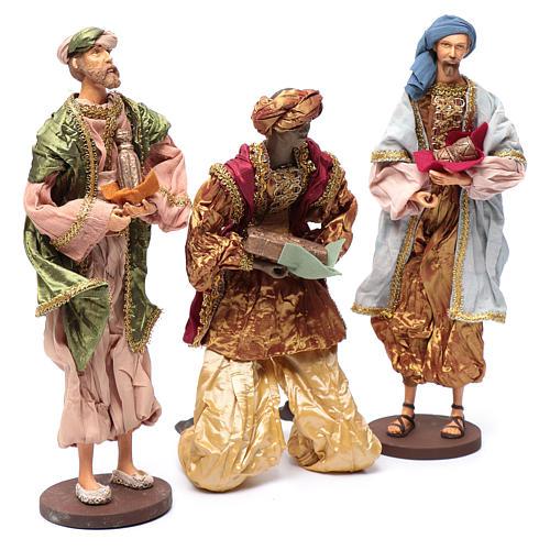 Reyes Magos con dones 35 cm resina y acabados oro 3