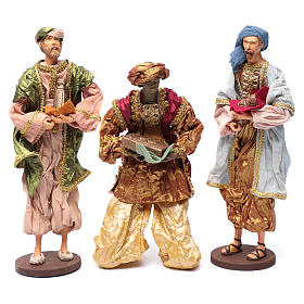 The Three Wise men with gifts 35 cm in resin and finished in gold s1