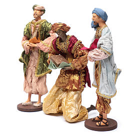 The Three Wise men with gifts 35 cm in resin and finished in gold s2