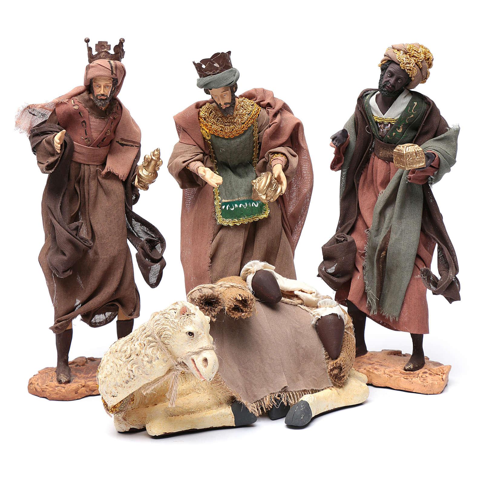 Reyes Magos con camello sentado 28 cm resina y gasa 3