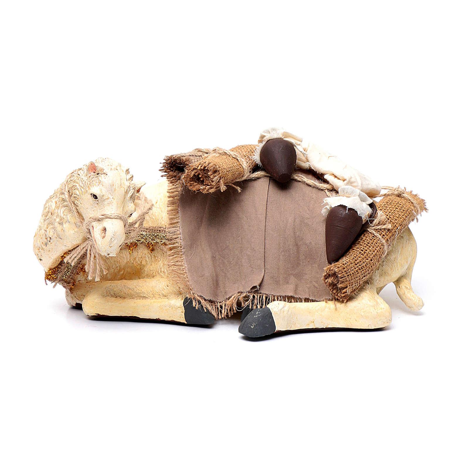 Re Magi con cammello seduto 28 cm resina e garza 3