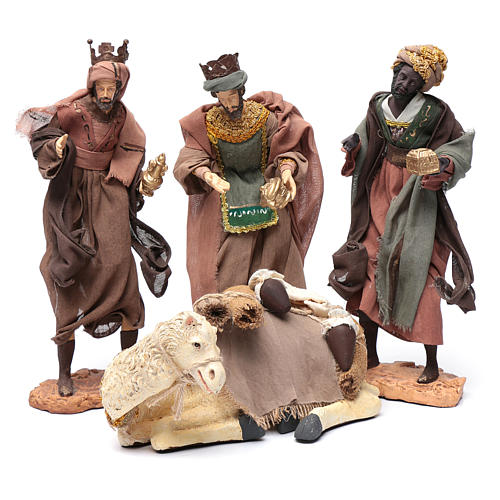 Re Magi con cammello seduto 28 cm resina e garza 1