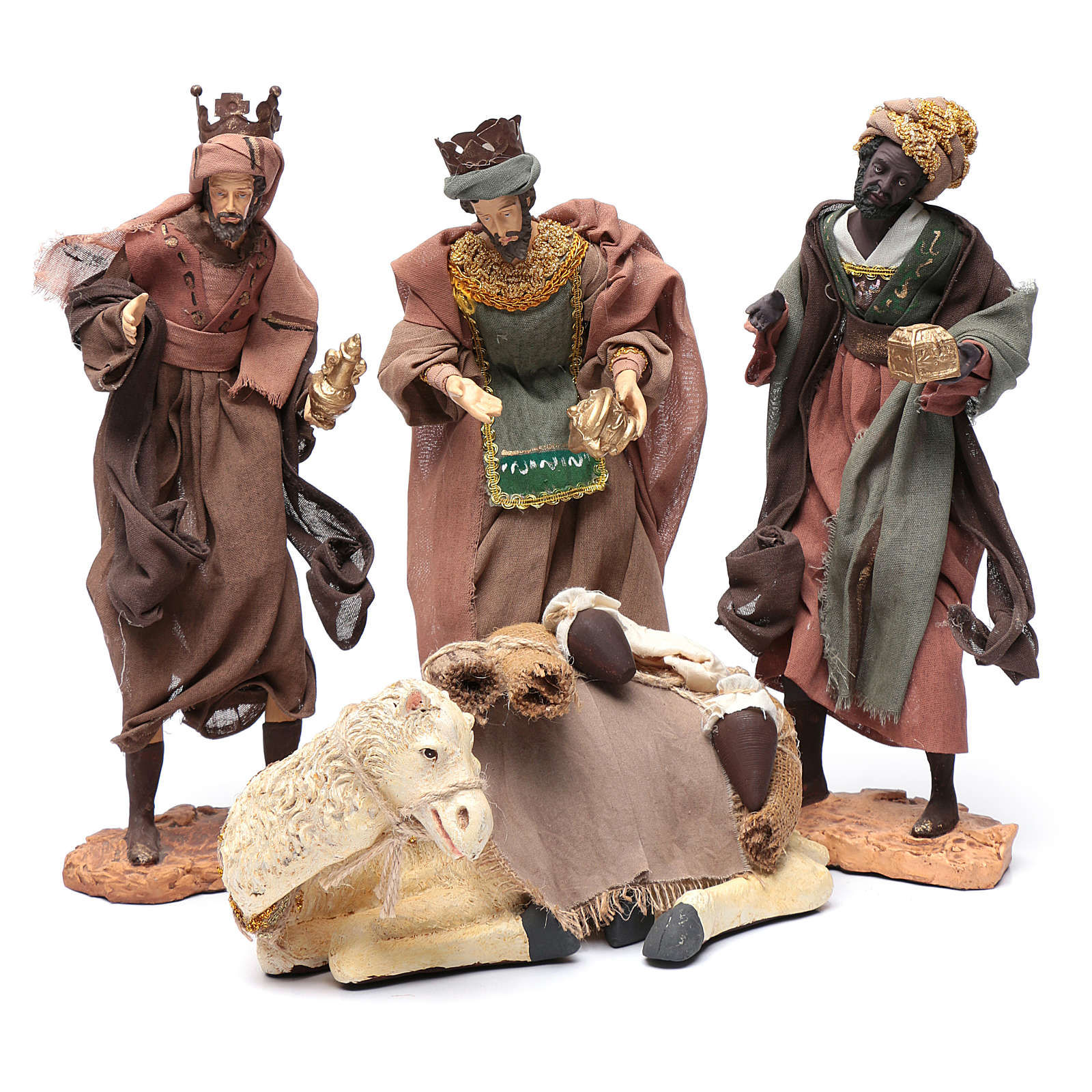 Nativity scene statue The Three Wise Men with camel sitting 28 cm gauze and resin 3
