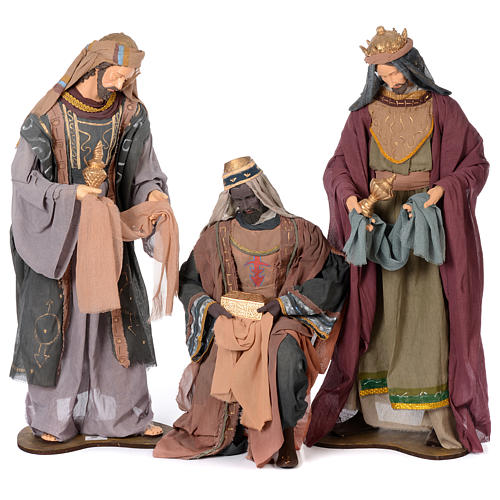 Nativity scene statues Three Wise Men 120 cm purple fabric with green side 1