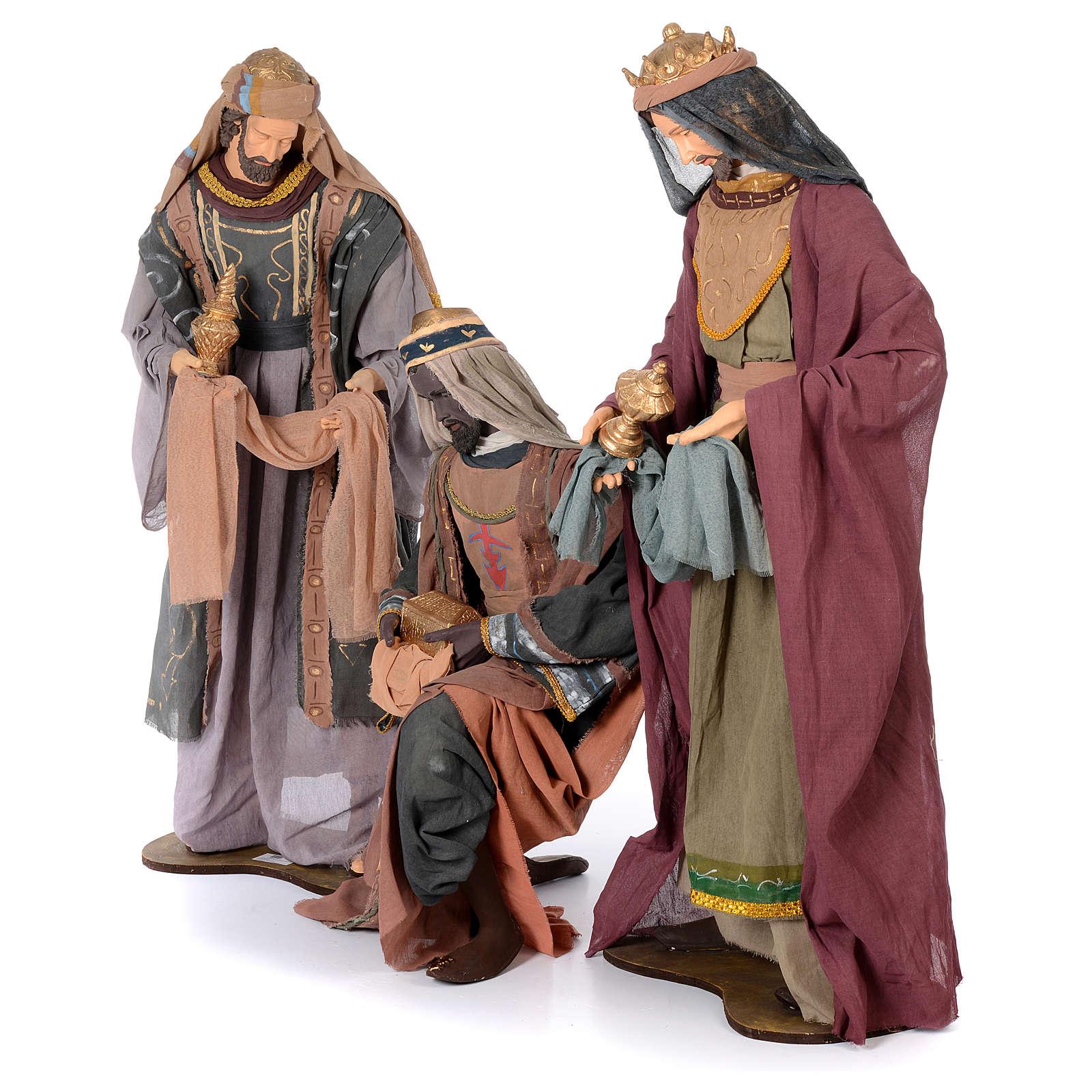 Reyes Magos 120 cm resina y tela verde y morado 3