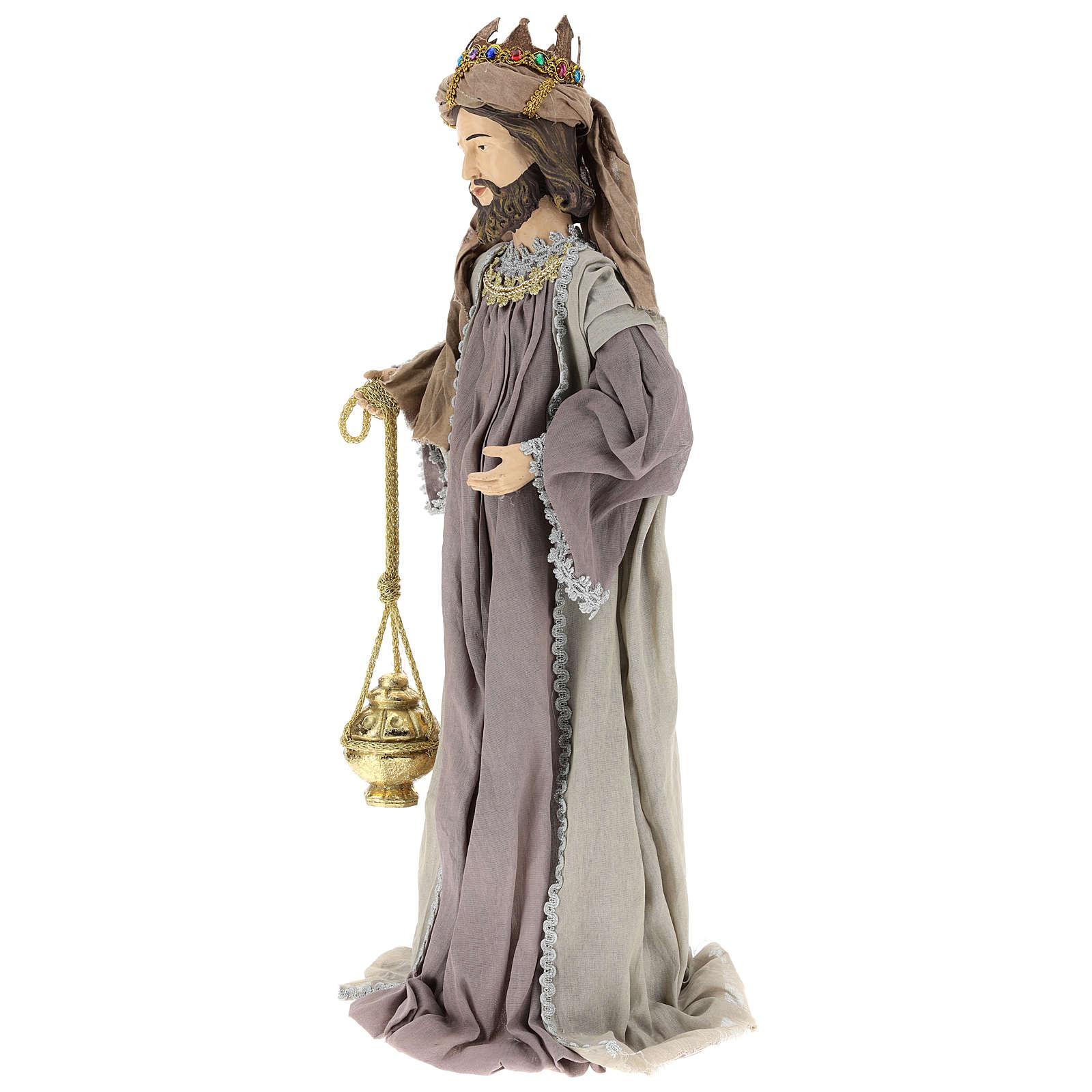 Drei Heilige Könige Harz und Stoff 85cm Shabby Chic 3