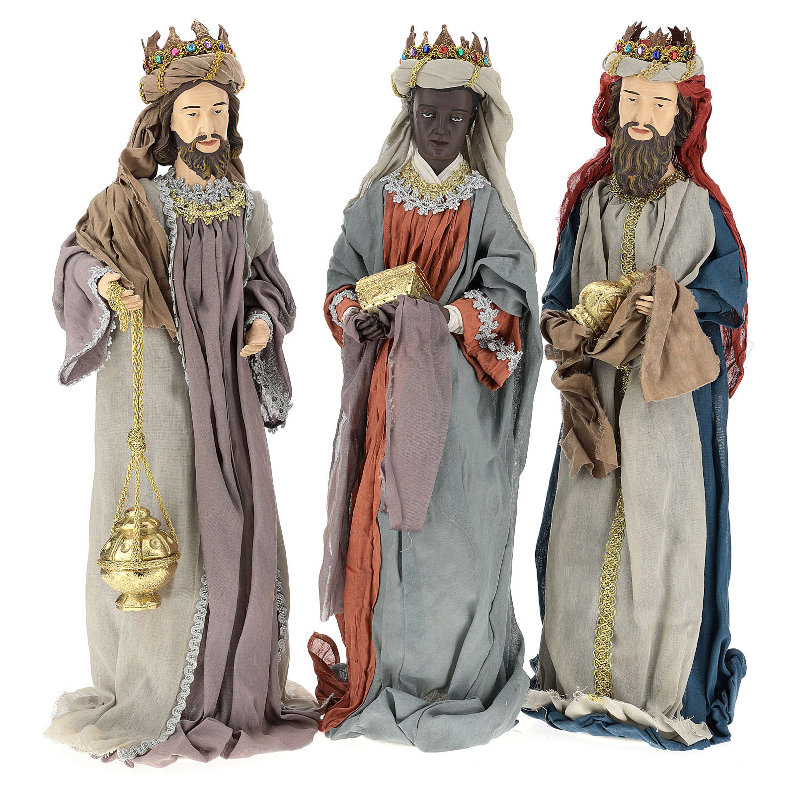Nativity scene statues Three Wise Men 85 cm in resin and gauze country style 3