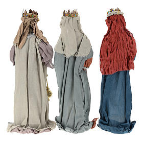 Nativity scene statues Three Wise Men 85 cm in resin and gauze country style s5