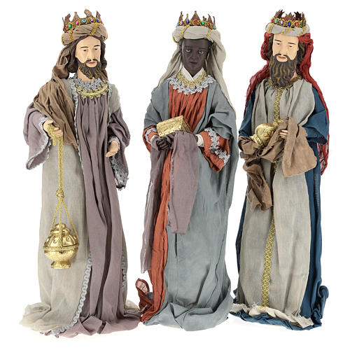 Nativity scene statues Three Wise Men 85 cm in resin and gauze country style 1